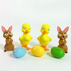Vintage Easter Clay Mold Bunnies, Chicks, Eggs